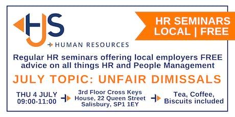 HJS *FREE* Monthly HR Seminar (July): Unfair Dismissals tickets