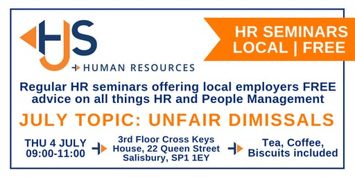 HJS *FREE* Monthly HR Seminar (July): Unfair Dismissals