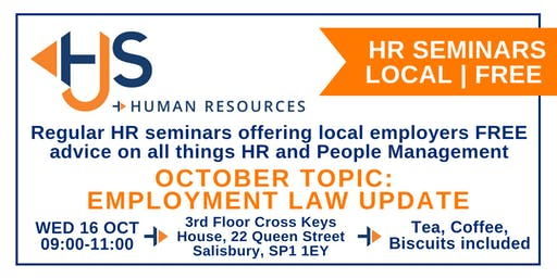 HJS *FREE* Monthly HR Seminar (Oct): Employment Law Update