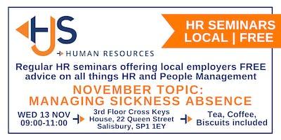 HJS *FREE* Monthly HR Seminar (Nov): Managing Sickness Absence
