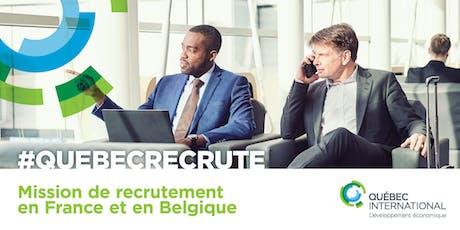 Mission de recrutement en France et en Belgique tickets