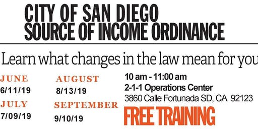 City of San Diego Source of Income Ordinance - Free Training Series