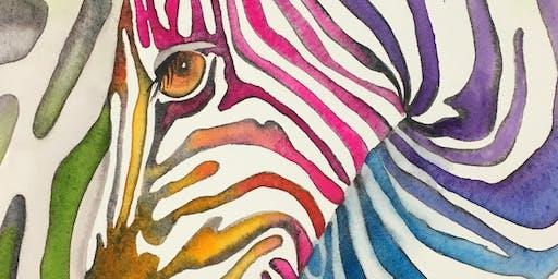 Splash Watercolor Class - Zebra