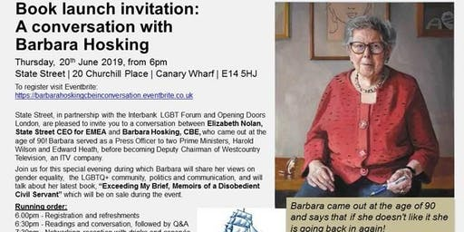 Barbara Hosking CBE In Conversation on 'Exceeding my brief, Memoirs of a disobedient civil servant'