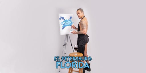 Booze N' Brush Next to Naked Sip n' Paint St. Petersburg, FL Exotic Male Model Painting Event