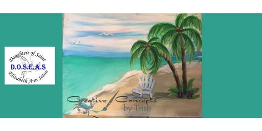 Beach Scene Canvas Paint Night