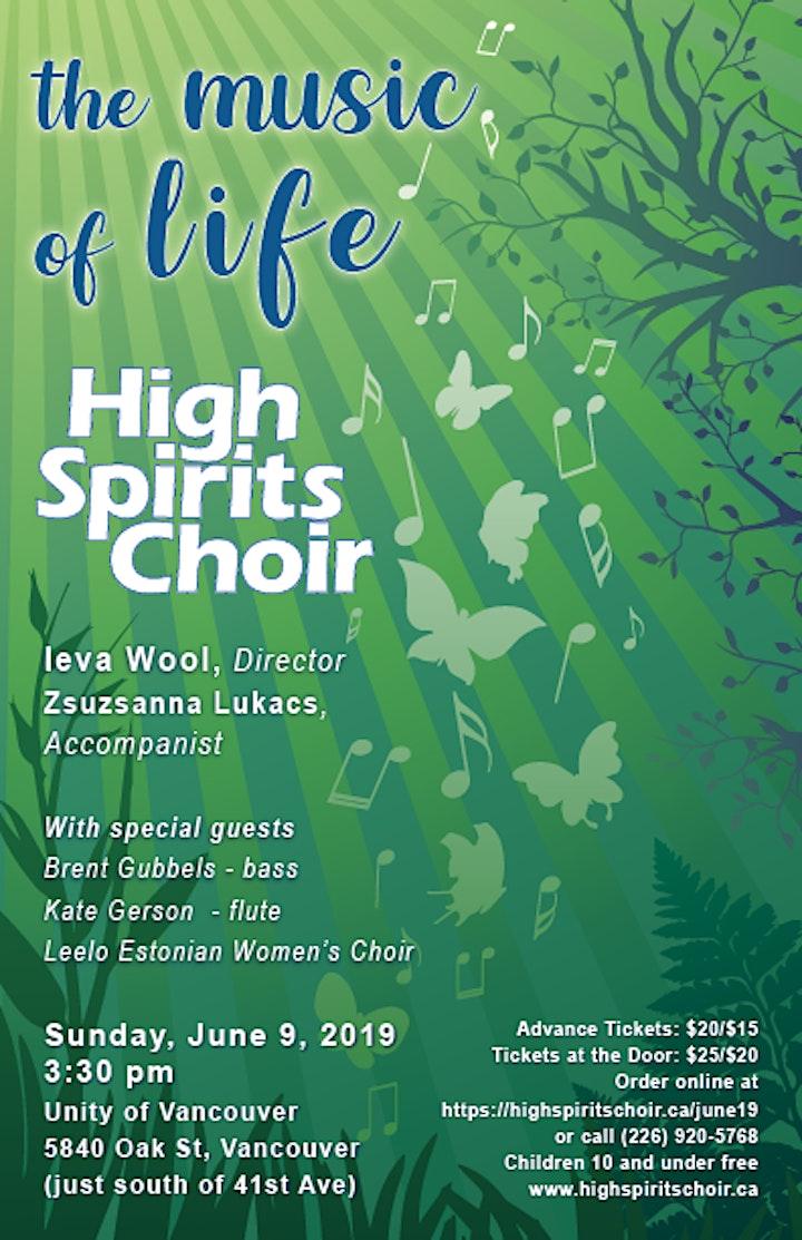 The Music of Life - High Spirits Choir June Concert image