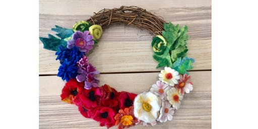 Felted Garden Flowers Wreath - Resist and Wet and Needle Felting