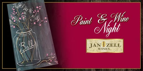 Jan Zell Wines Paint Event Jar on wood tickets