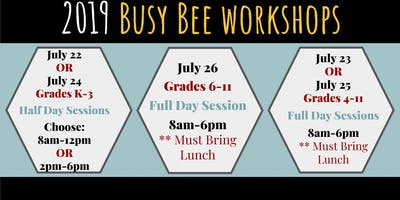 2019 Busy Bee Workshops - Grades k-3 - Black Light Puppet - Summer Camp