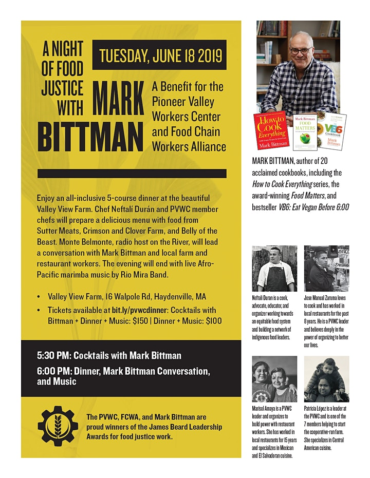 A Night of Food Justice with Mark Bittman: A Benefit for PVWC image