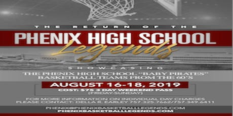 "Remembering James H. ""Blue"" Earley and The Phenix H. S. Basketball Legends					  August 16-18, 2019 tickets"