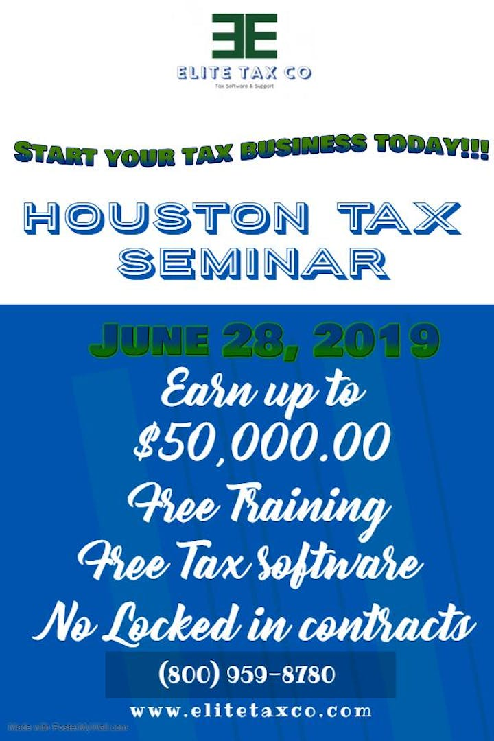 Tax Seminar- Start a new business  Earn up to 50k in 4