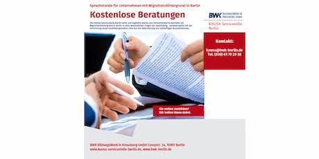Kostenlose Beratungen für ausbildende Betriebe mit Migrationshintergrund Tickets