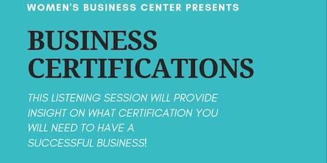 FREE Business Certifications Webinar (ONLINE) tickets