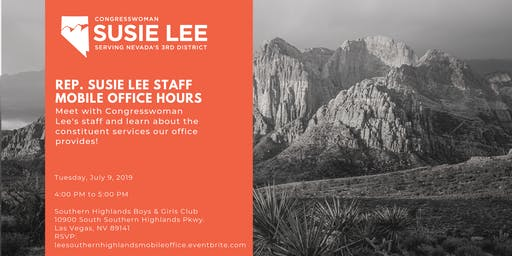 Rep. Susie Lee Staff Mobile Office Hours - Southern Highlands