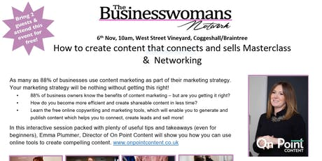 How to create content that connects and sells Masterclass &  Networking tickets