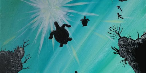 """Paint Party at the Hide-A-Way """"Sunlit Turtles"""""""