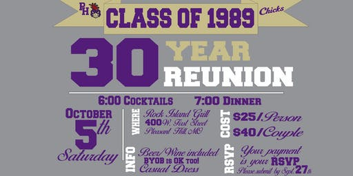 Pleasant Hill High School Class of 1989 30 year Reunion