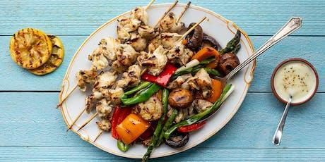 Chicken Kebabs with Vegetables & Garlic Lemon Sauce tickets
