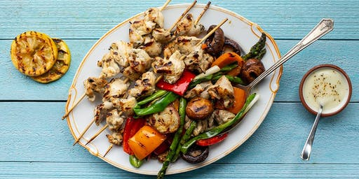 Chicken Kebabs with Vegetables & Garlic Lemon Sauce