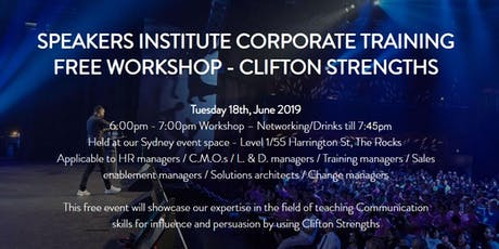SPEAKERS INSTITUTE CORPORATE TRAINING FREE WORKSHOP -  CLIFTON STRENGTHS tickets