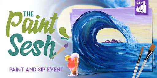 "Paint Night in Downtown Riverside, CA - ""Big Wave"""