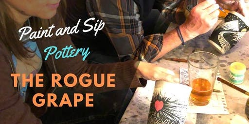 Paint & Sip Pottery at The Rogue Grape! 3rd Tuesdays