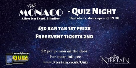 The Monaco Weekly Quiz Night - Each Thursday  tickets