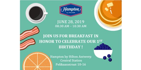 Hampton by Hilton Antwerp Central Station one year celebration tickets