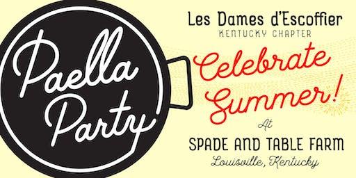 LES DAMES d'ESCOFFIER KY PRESENTS A SUMMER PAELLA PARTY AT SPADE & TABLE FARM