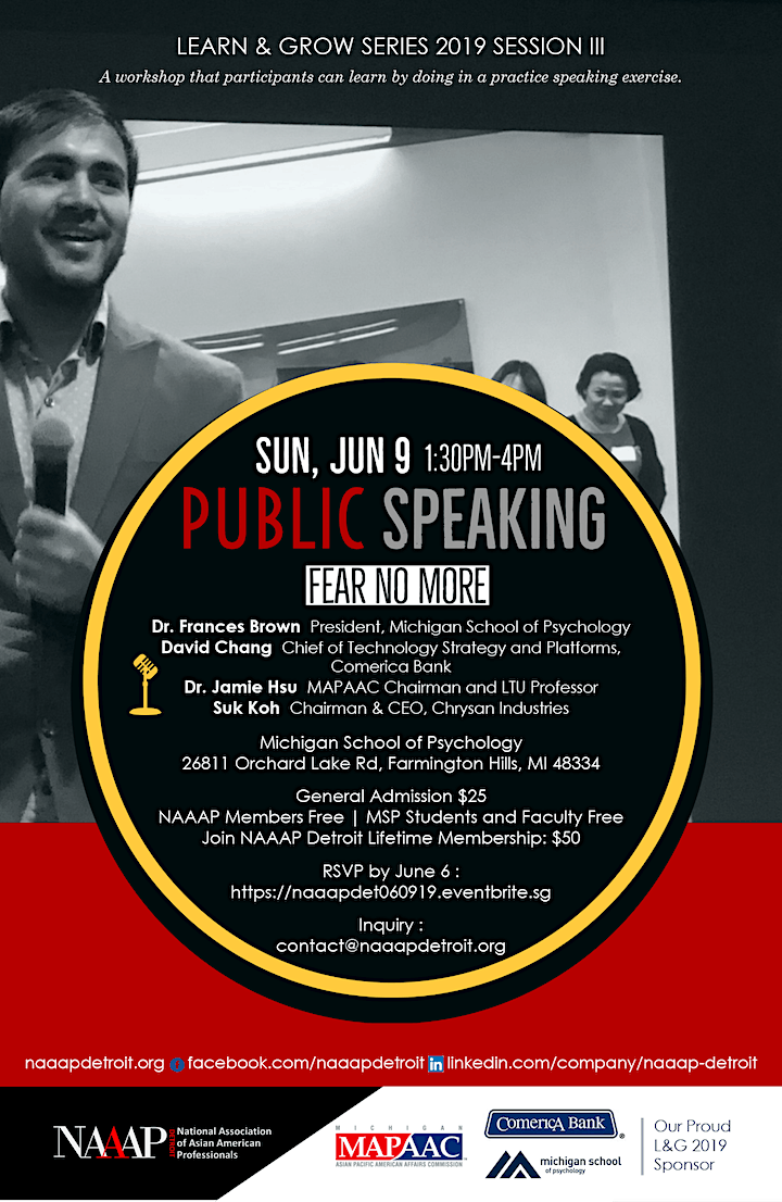 Learn & Grow Series: Fear No More! – Public Speaking Workshop image