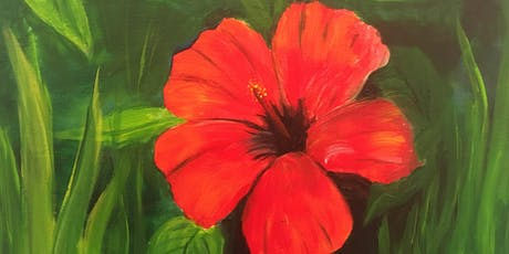 """Hibiscus"" Acrylic Painting Class $38 NEW! 6/19 tickets"