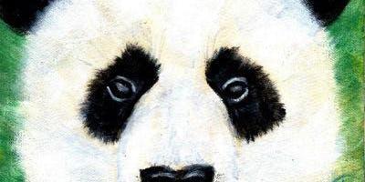 "1PM Class! ""Peeking Panda"" Acrylic Painting Class 1-2:30PM $28 6/20"