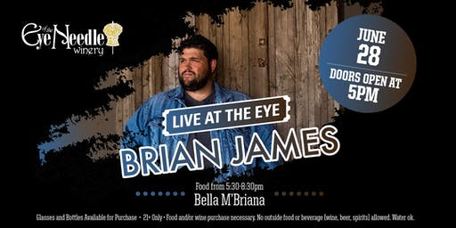 LIVE at the Eye:   Brian James June 28, 2019 at 5:00 pm