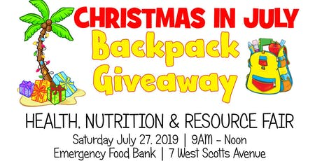 Christmas in July Backpack Giveaway tickets
