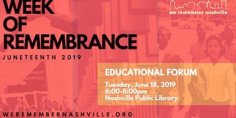 We Remember Nashville Educational Forum tickets