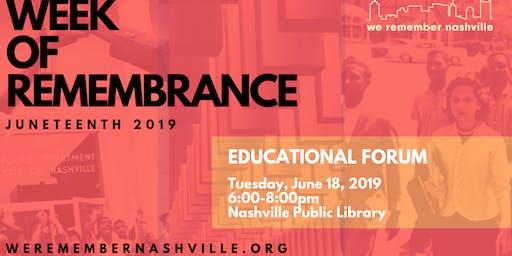 We Remember Nashville Educational Forum