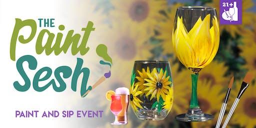 "Paint night in Riverside, CA – ""Sunnies"" Wine Glass Set"