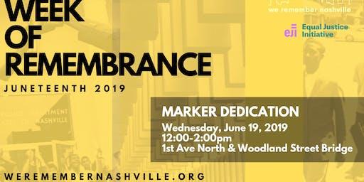 We Remember Nashville Marker Installation & Dedication