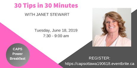 30 Tips in 30 Minutes with Janet Stewart tickets