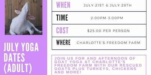 Goat Yoga at Charlotte's Freedom Farm