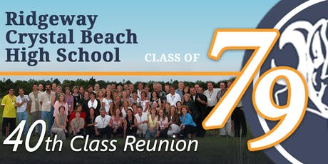 "Ridgeway Crystal Beach High School 40th Reunion ""Class of 1979"" tickets"