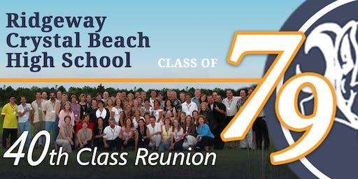 "Ridgeway Crystal Beach High School 40th Reunion ""Class of 1979"""