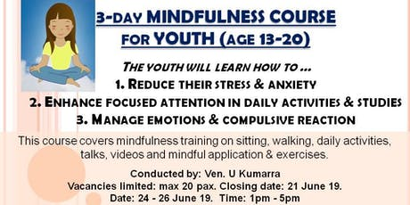 Mindfulness Course for Youth  (13-20 yrs old) tickets