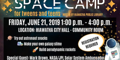 Space Camp with Hiawatha Public Library