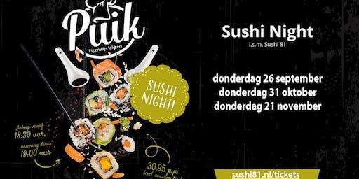 Sushi Night - Restaurant PUIK - donderdag 31 oktober
