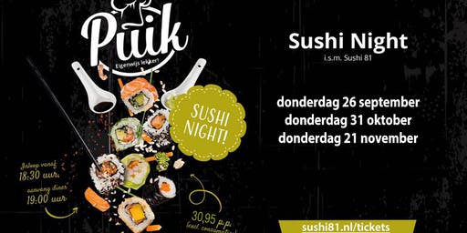 Sushi Night - Restaurant PUIK - donderdag 21 november