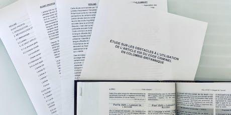 Présentation de l'étude sur l'article 530 du Code criminel tickets