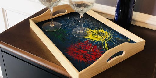 4th of July Fireworks Tray -  Pour Painting - Sip & Paint Party Art Maker Class